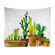 Xinhuaya Nature Decor Tapestry, Desert Botanic Herbal Cartoon like Cactus Plant Flower with Spikes Print ,Bedroom Living Room Dorm Wall Hanging