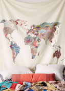 Floral World Map Wall Tapestry Headboard Wall Art Bedspread Dorm Tapestry Home Decor,150cm x 150cm ,Twin