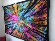 "Exclusive Tie Dye Locust Trees From Below Tapestry Urban Tapestry By ""JAIPUR HANDLOOM"", Tree Of Life Forest Tapestry, Wall Hanging Rainbow Tye dye Locust Tree tapestry colourful tapestry Bedspread"