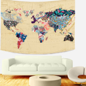 Sunlightfree Floral Watercolour World Map Tapestry Colourful Printed Map Tapestry Wall Hanging for Bedroom Living Room Dorm Home Decor (Large/210cm X 150cm , J1SG107)…