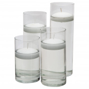 Glass Cylinder Vases - SET OF 4 - Including 4 FLOATING DISC CANDLES, Decorative Centrepieces For Home or Wedding by Royal Imports