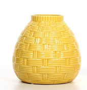 Hosley's 17cm High Yellow Ceramic table top or floor Vase. Ideal as a Gift