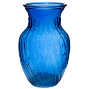 Flower Bunch Glass Vase Decorative Centrepiece For Home or Wedding by Royal Imports - Swirl Style - 20cm Tall, 10cm Opening, Blue