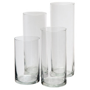 Glass Cylinder Vases SET OF 4 Decorative Centrepieces For Home or Wedding by Royal Imports