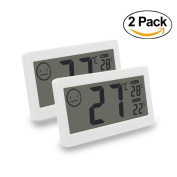 Digital Thermometer Hygrometer Temperature and Humidity Display with 8.4cm LCD for Household Office Gym Kitchen etc by MIKIZ