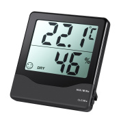 Amir Indoor Hygrometer Thermometer, Digital Temperature and Humidity Monitor with Large LCD Screen, MIN/MAX Records, °C/°F switch, Comfort Indicators - Black