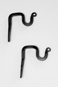 Wrought Iron Thick Forged Single Curtain Brackets (2 Pack) - Hand Made by Amish