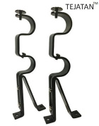 Double Curtain Rod Brackets - Black (set of 2)
