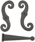 Perfect Shutters 20-2004---07 Decorative Vinyl Shutter Hinges and S Holdback Hooks For Exterior Decorative Shutters, Dark Grey (Set),