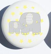 Single Yellow Elephant Drawer Pull Knob / Mother and baby Elephant Cabinet Handles Nursery Decor