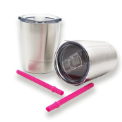 Kids Stainless Steel Tumbler Sippy Cup with Lid & Straw, 250ml by QT Kids Non Spill for Toddlers 2 Yrs and Up. Hot Chocolate Mug, Cold Water Bottle, Milk, Juice, Smoothies. Keeps Hot or Cold.