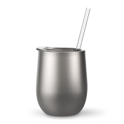 350ml Stainless Steel Wine Tumbler Sippy Cup with Lid and Straw
