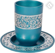 Anodized Aluminium Lace Design Kiddush Cup and Saucer / Turquoise
