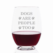 Dog Are People Too Engraved Stemless 620ml Wine Glass - 4pcs