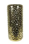 Pierced Ceramic Umbrella Stand, 20cm x 20cm x 46cm , Gold