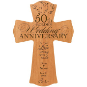 Personalised 50th Wedding Anniversary Wood Wall Cross Gift for Couple 50 year Anniversary Gifts for Her, Anniversary Gifts for Him A True Love Story Never Ends