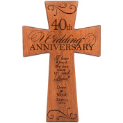 Personalised 40th Wedding Anniversary Gift for Couple Cherry Wall Cross, 40th Ruby Gifts for Her 40 year ideas for Him I Have Found the One Whom My Soul Loves by DaySpring Milestones