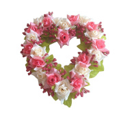Lanlan Simulated Heart-shape wreath for Wedding Car Home Room Garden Decoration,Pink