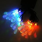 Ladaidra String Solar Lights, 20 LED Water Drop Lamp, 5M Plastic Rechargeable Waterproof Portable Outdoor Flower Decor for Garden Wedding Festivel Xmas Party
