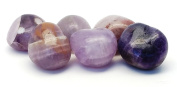 6 pcs Amethyst Crystal Tumbled Stone Lot, 100% Natural Gemstones in Gift Pouch / Purple Tumble Rocks for Energy Crystal Healing Grids