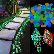 YRD TECH 100PC Glow In The Dark Pebbles Stones Luminous Illuminous Garden Outdoor Fish