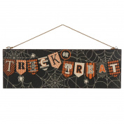 Glitzhome Wooden Halloween Spiderweb Wall Sign Decorations