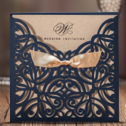 Wishmade Navy Blue Square Laser Cut Wedding Invitations Cards with Bow Lace Sleeve Cards for Engagement Baby Shower Birthday Quinceanera