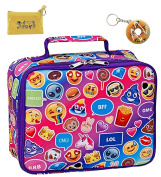Emoji Funky Insulated Lunch Box Tote, Coin Bag & Keychain Multi-pack