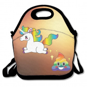 Hoeless Funny Emoji Unicorn Poop Insulated Lunch Bag With Zipper,Carry Handle And Shoulder Strap For Adults Or Kids Black