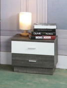 MB9303 Smart Home Distressed Grey & Glossy White 2 Drawer Nightstand
