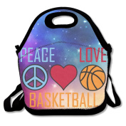 Peace Love Basketball Waterproof Lunch Tote Bag Insulated Reusable Picnic Lunch Boxes For Men Women Kids