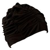 Eforstore Swimming Caps Long Hair Swim Cap Pleated Cloth Fabric Bathing Hats Lycra Beanie Hat for Adult Men Women