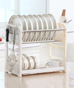 PENGFEI Kitchen shelf 2 layer Tableware drain rack plastic Blue and white, 40.3 * 24.3 * 37cm strong and sturdy