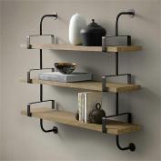 TRRE@ Loft wrought iron 3 layers shelves bookshelf solid wood board creative wall decoration shelves Shelf Accessories