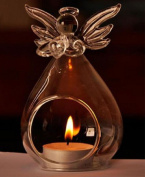 Clear Candlestick Holder Angel Crystal Glass Home Decoration Hanging Tealight Candle Holder
