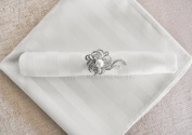 Wedding Linens Inc. 10 pcs Striped Jacquard Damask Polyester 50cm x 50cm Dinner Table Linen Napkins for Restaurant Kitchen Dining Wedding Party Banquet Events - White