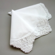 White Wedding Cluny Lace Ladies Cotton Handkerchiefs Hankie Hanky- Set of 3