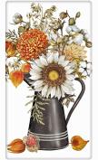 Colourful Autumn Floral Vase Sunflower 100% Cotton Flour Sack Dish Tea Towel - Mary Lake Thompson 80cm x 80cm