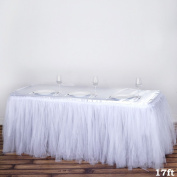 BalsaCircle 5.2m Tutu Two Layers Tulle Table Skirt Linens - White