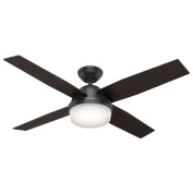 Hunter 59251 Contemporary Dempsey Damp Matte Black Ceiling Fan With Light & Remote, 130cm