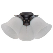 Westinghouse 77850 - 3 Light Oil Rubbed Bronze Fitter Glass Shade LED Ceiling Fan Light Kit