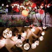 Cymas G40 Globe String Lights, 5.5m Indoor/Outdoor Lights 25 LED Bulbs for Patio Cafe Bistro Market Porch Deck Party Wedding Gazebo Backyard UL Listed Can Not Connectable- Warm Light