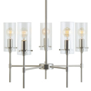 Linea di Liara Effimero Five-Light Stem Hung Chandelier, Brushed Nickel with Clear Glass Cylinders LL-C35-BN