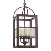Revel Raven 60cm 4-Light Transitional Foyer Lantern Cage Chandelier, Metal Frame Wood Style Finish