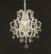 Jac D'Lights J10-592/1 Wrought Iron Crystal Chandelier, 14x 12.5cm x 1Inch, White