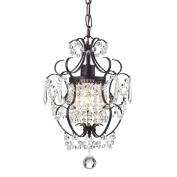 Amorette 1-Light Antique Bronze Finish Mini Chandelier Wrought Iron Ceiling Fixture