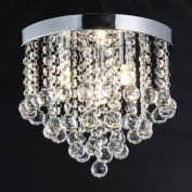 ZEEFO Crystal Chandelier, Modern Chandelier Crystal Ball Light Fixture, 3 Lights, Flush Mount Ceiling Lamp 30cm Diameter for Hallway, Bedroom, Living room, Kitchen, Dining Room