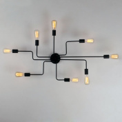 Unitary Brand Black Metal Steel Art Dining Room Flush Mount Ceiling light with 8 E26 Bulb Sockets 480W Painted Finish