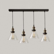 Industrial Retro Country Style Clear Glass Island Chandelier - LITFAD Clear Cone Glass Shade Four Lights Pendant Light Antique Brass & Bronze Finish Ceiling Light