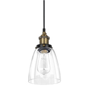 ALHAKIN Industrial Edison Light Mini Glass Pendant Clear Fixture Antique Lighting